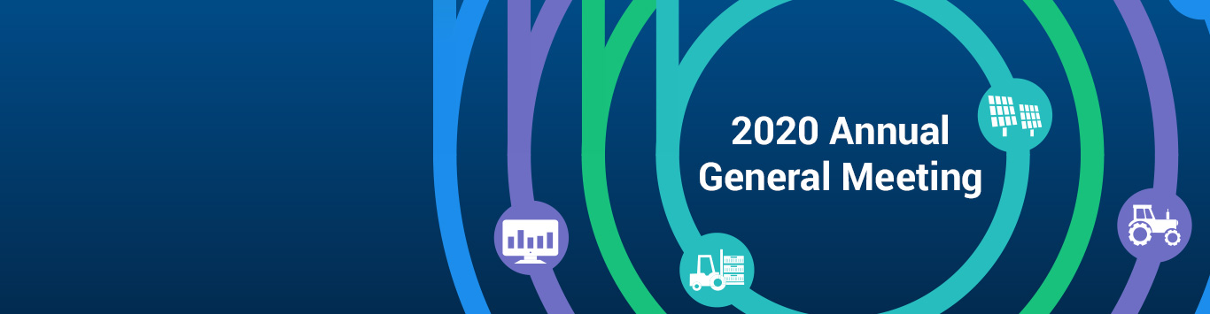 The words, '2020 Annual General Meeting' surrounded by four different coloured rings accompanied by supply chain icons, over a navy gradient background.