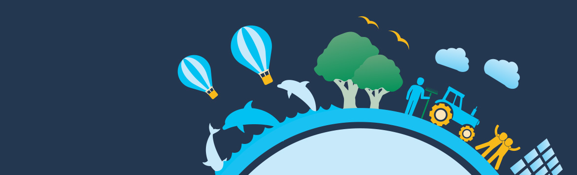 The banner image features a close-up of the 2020 Sustainability Goals Graphic (focusing on the Better Communities section) which consists of a flat, 2D illustrated of a globe. Positioned all the way around the circumference of the globe are illustrations of a town with vehicles, clouds, buildings, trees, aeroplanes and more. The graphic is situated on a midnight blue colour background.