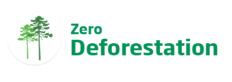 An image of the 'Zero Deforestation' logo. This text is featured in green beside a tree icon.