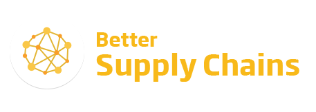 An image of the 'Better Supply Chains' logo. This text is featured in yellow beside a yellow network icon.
