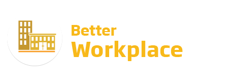An image of the 'Better Workplace' logo. This text is featured in yellow beside a yellow buildings icon.