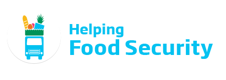 An image of the Better Communities 'Helping Food Security' logo. This text is featured in cyan beside a icon of a vehicle carrying food.
