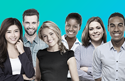 An image of a group of graduate students in black and white, over a turquoise gradient background