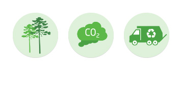 An image consisting of the three icons that represent the 3 goals within the Better Planet Sector of the Brambles' Sustainability framework. These include Zero Waste represented through a recycle garbage truck icon, Zero Emissions represented through a CO2 cloud, and Zero Deforestation represented through a tree icon.