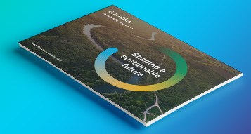 A photograph of Bramble's 2019 Sustainability Review on a gradient blue colour background