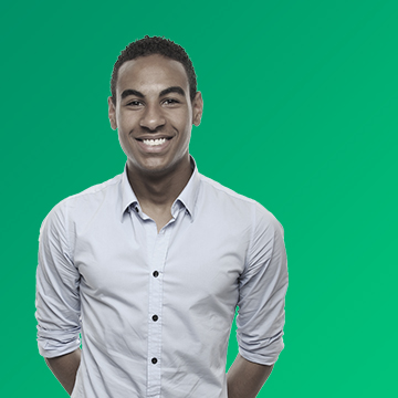 A photograph of a young black American male over a green gradient background